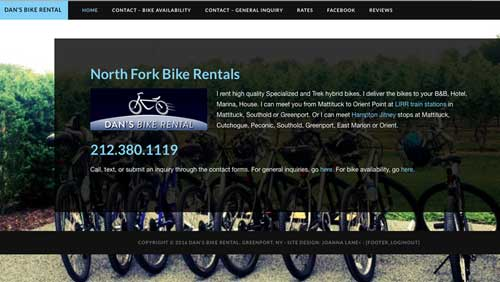 screen grab of website. Text and bike logo
