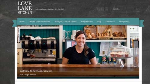 screen grab of website. Girl behind counter of a kitchen