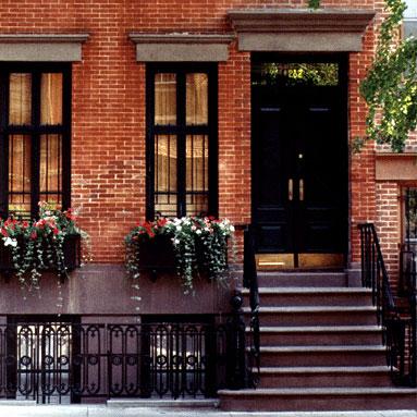 red brick exterior black windows