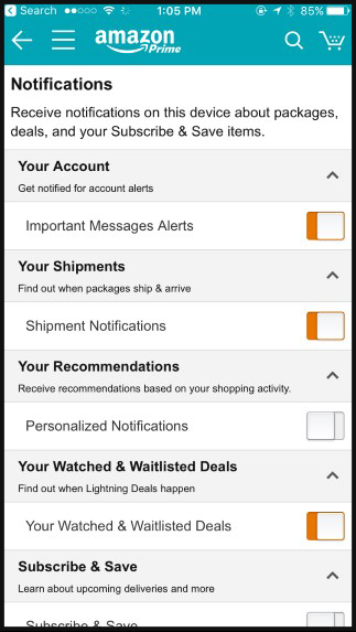 Amazon Notifications
