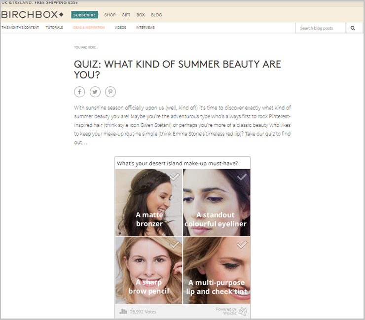 Example:  Birchbox quiz