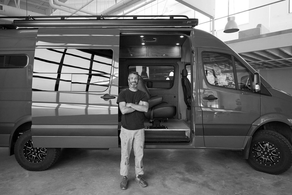 Scotty Reed inside his first Sprinter upfitting project, 2016