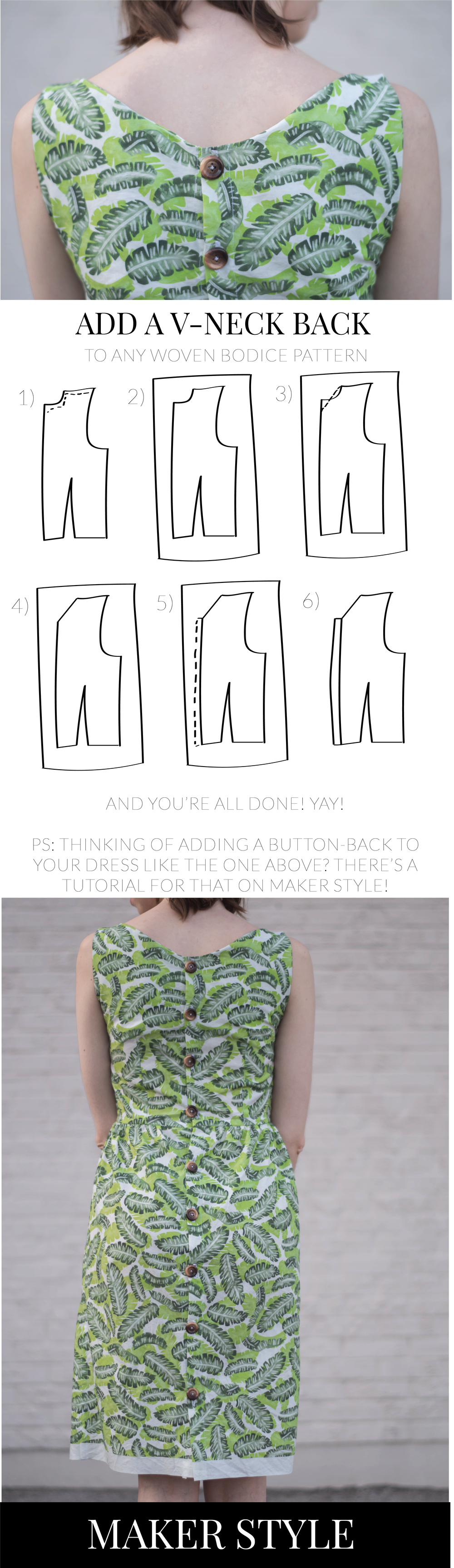 Looking to add an eye-catching v-neck to the back of your next dress? This tutorial will walk you through how to modify a pattern to help you achieve this look. PLUS I'll make a great recommendation for a free dress pattern to try this out with.