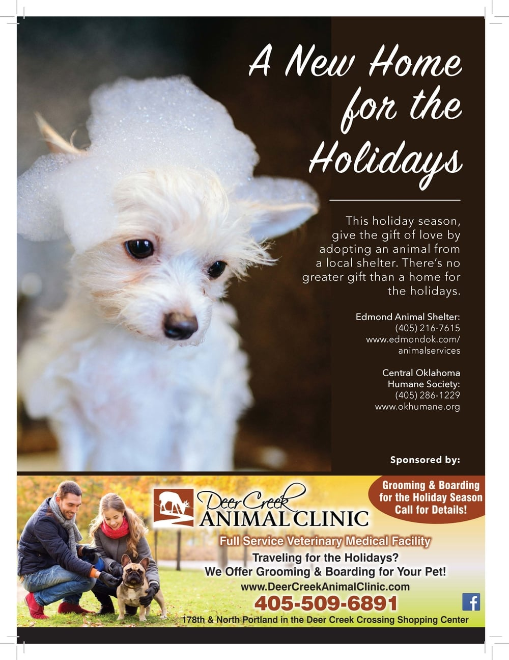 A New Home  This holiday season,  give the gift of love by  adopting an animal from  a local shelter. There's no  greater gift than a home for  the holidays.  for the  Holidays  Edmond Animal Shelter:  (405) 216-7615  www.edmondok.com/  animalservices  Central Oklahoma  Humane Society:  (405) 286-1229  www.okhumane.org
