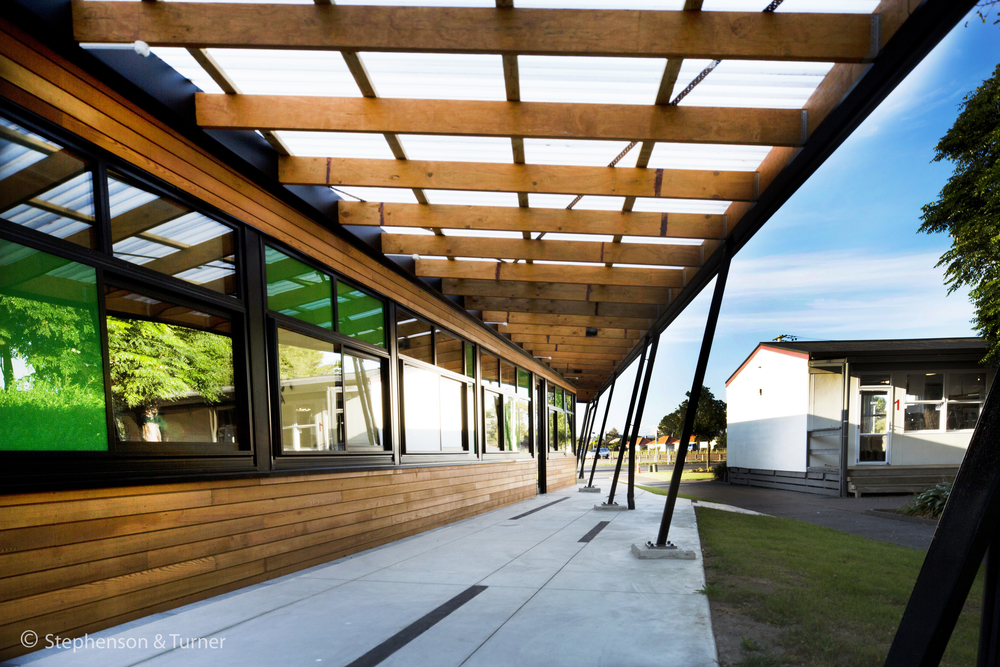 Whenuapai School, Auckland New Administration Building The aim of designing a new administration building for Whenuapai Primary School was to create not only a welcoming entrance to the school but also to include the school's identity within the design.