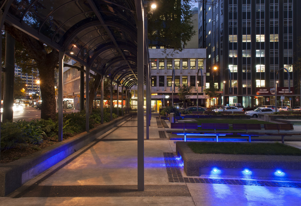 Midland Park, Wellington S&T provided replacement lighting to encourage pedestrians to use the park at night and to highlight the seating areas, sculptures and river stone beds. .