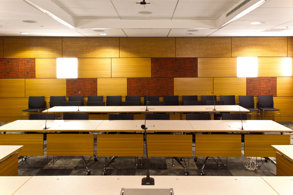 Special Courts at L1 Chorus House Refurbishment S&T's brief was to provide a suite of facility rooms with the flexibility to be configured into hearing rooms, courtrooms, mediation rooms, and even interview spaces.