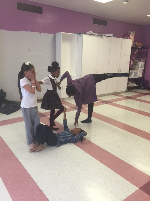 Seed Street Move students using their bodies to act out an improvised Human Machine.