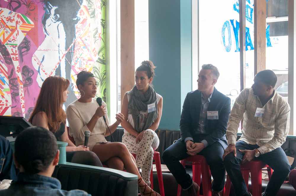 From left to right: Moderator Hallie Ringle and panelists Hannah Bronfman, Anahi Angelone, Miguel Luciano and JJ Johnson.