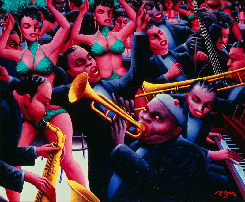 Archibald J. Motley Jr.,   Hot Rhythm , 1961. Oil on canvas  Image courtesy of the Chicago History Museum, Chicago, Illinois. © Valerie Gerrard Browne.