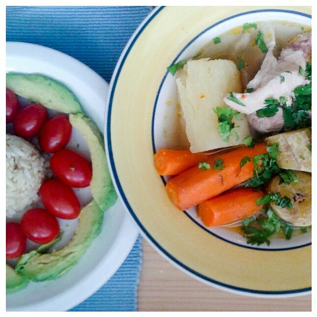 sancocho de pollo (chicken stew). this is a traditional chicken stew made typically made with corn, however elena is corn sensitive so we opt for carrots instead.