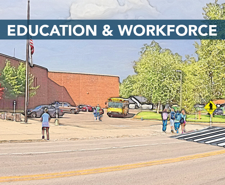 • Promote talent and trades  • Host community career fairs  • Support on-the-job training with local industry   Download the EDUCATION & WORKFORCE workplan here .