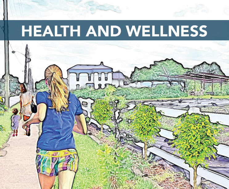 • Encourage urban farming and fresh food access  • Address environmental problems  • Improve access to healthcare  • Create more recreational opportunities     Download the HEALTH AND WELLNESS workplan here .