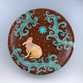 "Wishing, 18"" diam ceramic platter. Cathy Kiffney"