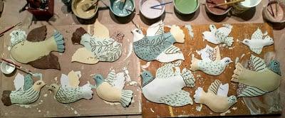 Making birds, Cathy Kiffney Ceramics