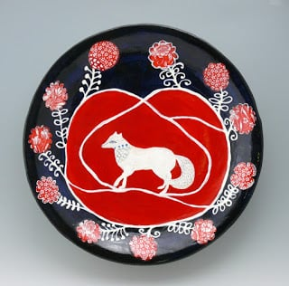 "Fox and Roses, ceramic wall platter, 17"" Cathy Kiffney Ceramics"