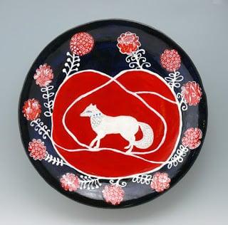 "Fox and Roses, ceramic wall platter, 17"" Cathy Kiffney Ceramics"