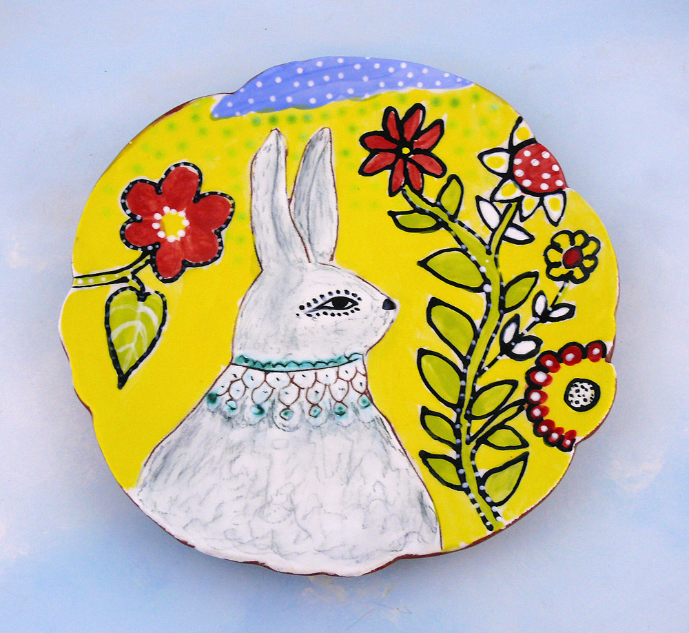 Rabbit and Flowers, plate Cathy  Kiffney