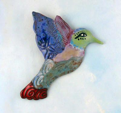 ceramic wall bird, Cathy Kiffney
