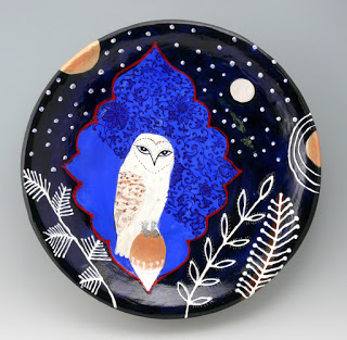 "Night Watch, 17"" ceramic platter, Cathy Kiffney"
