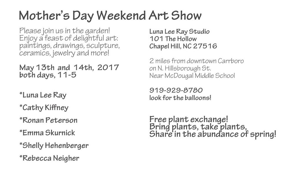Paintings, Pottery, Jewelry, Prints, Sculpture, Cards, Plants and More!