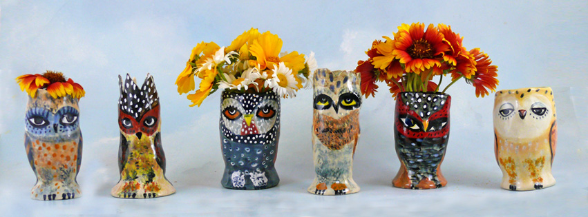 group of ceramic owl vases, cathy kiffney, chapel hill, nc