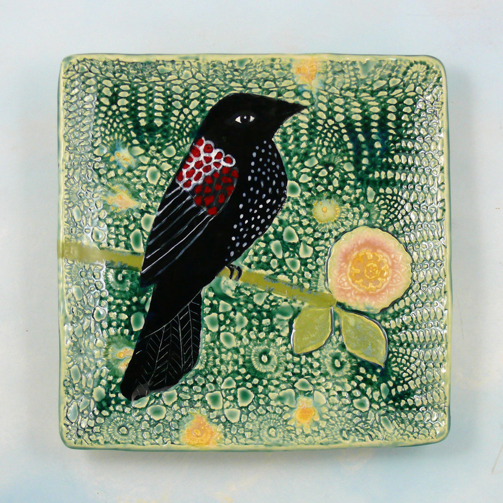 "Redwinged Blackbird, 10"" porcelain platter"