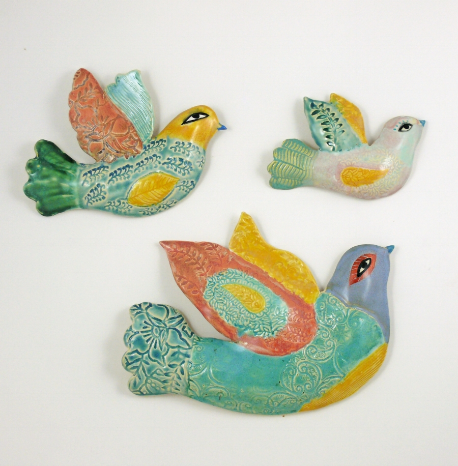 Porcelain Wall haging birds by Cathy Kiffney