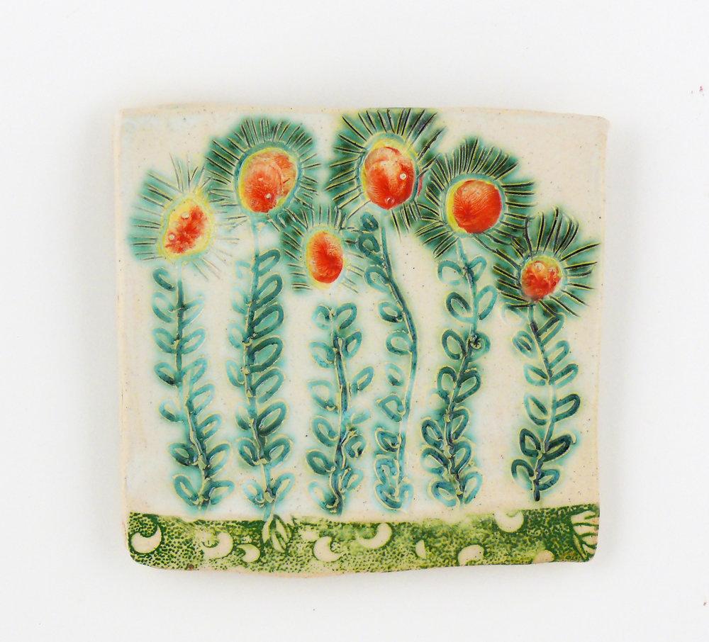 "Flowers, porcelain wall tile. Cathy Kiffney. 5x5"""