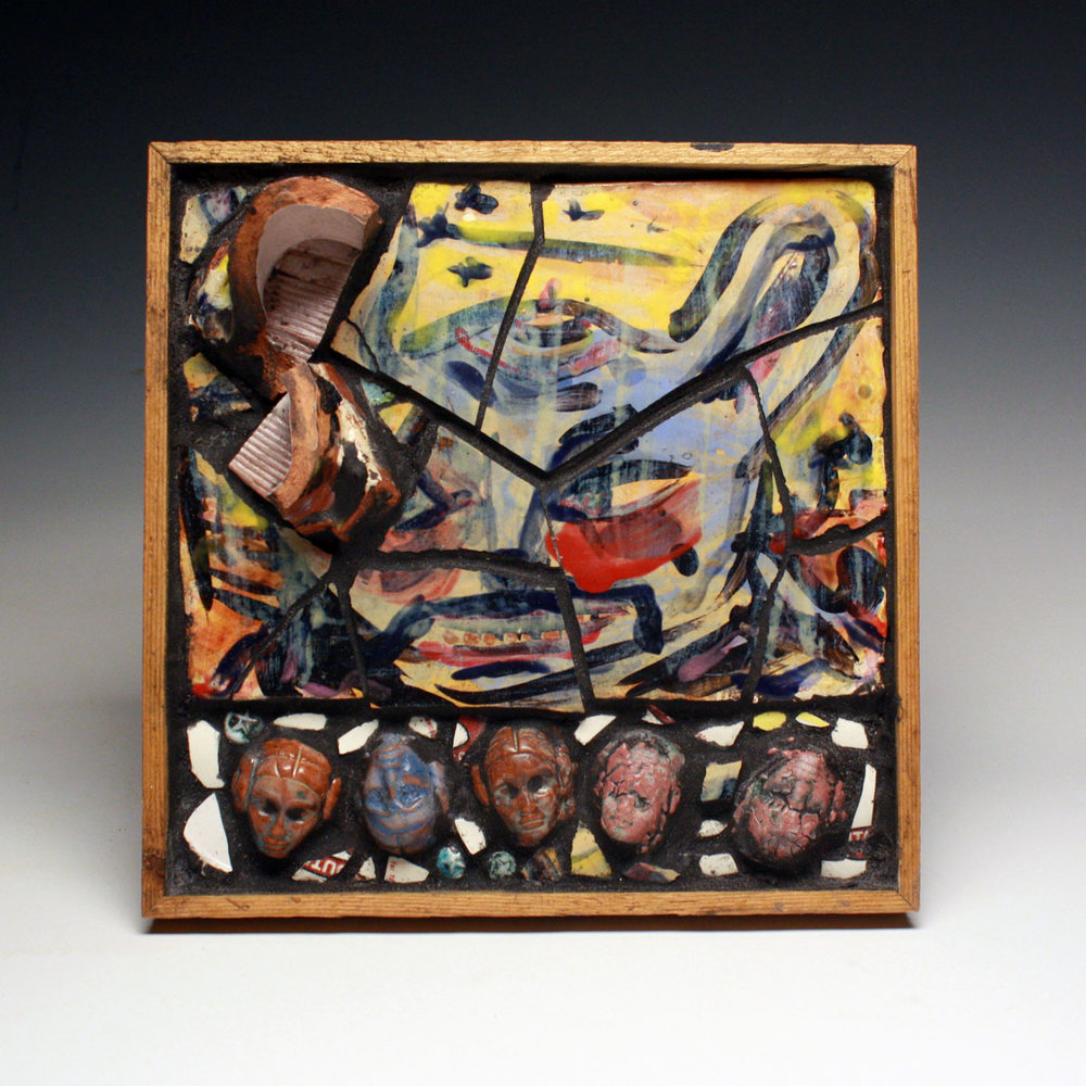 "It's Very Unclear I Hear AKA What Don Reitz saw at the circus made Ken Ferguson sick and Kirk Mangus jump for joy, by Christopher Leonard, 12""H x 12""L x 4""D,  Ceramic tile, sprigs, and smashed pot fragments formed/forced/coerced into a mysterious mosaic   nestled inside of a scrap wood frame. , 2016"