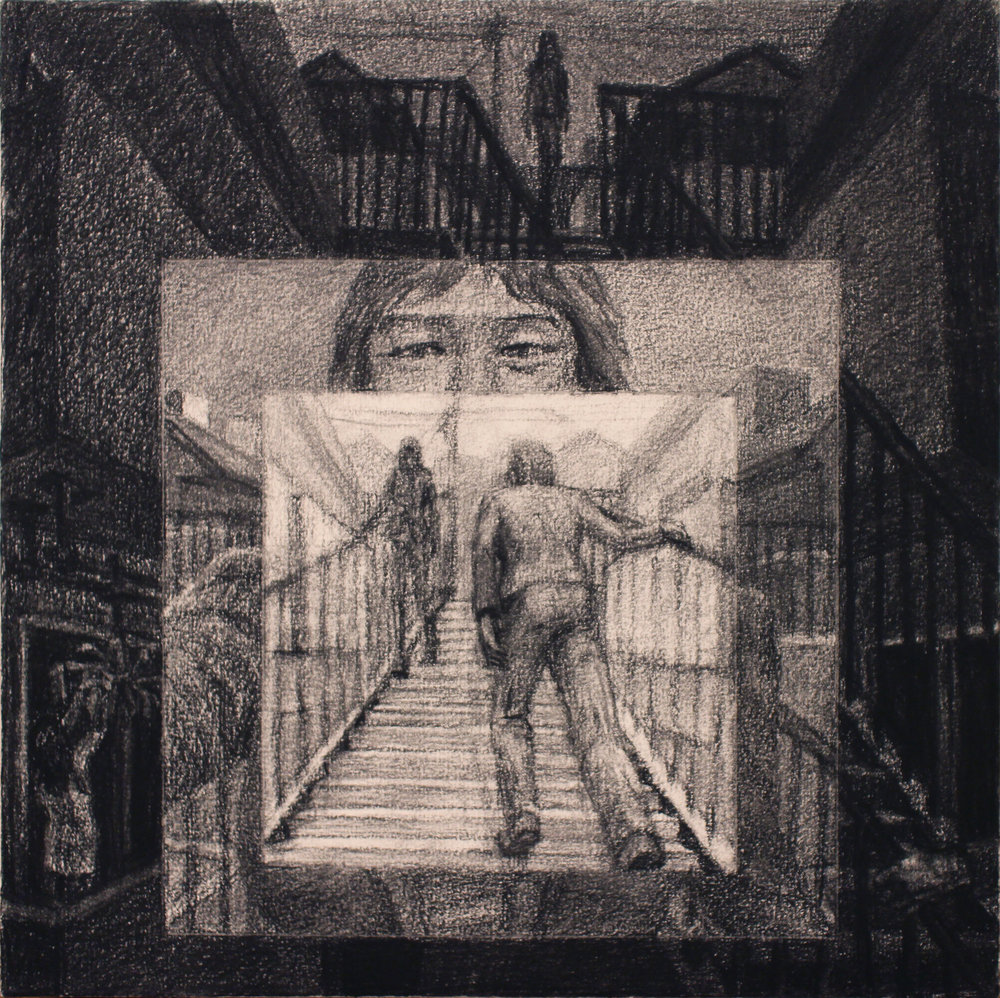 "Concentric Stairs, by Chris Troutman, charcoal on paper, 12x12"", 2017"