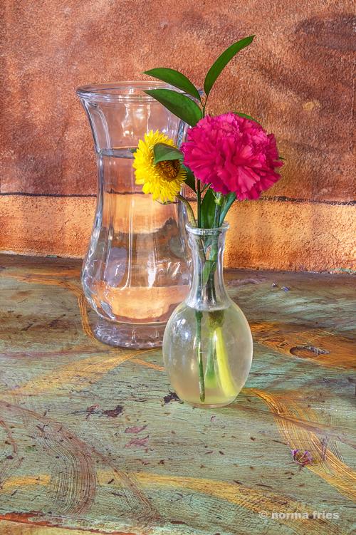 "CM418: ""San Juan Bautista Mission: Flowers in vase"""