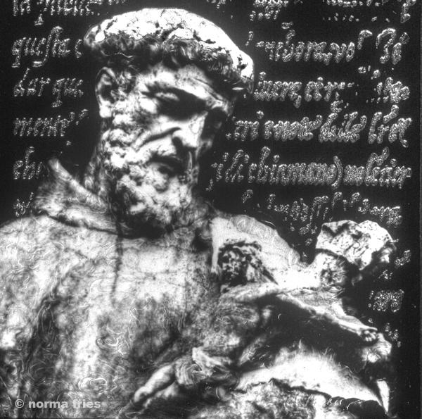 "CM428: ""Mission Carmel: St. Francis looks at cross"""