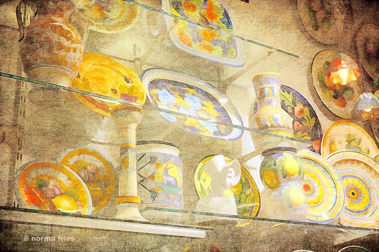"""IT305: """"Italy: 3 shelves of Italian ceramics"""""""