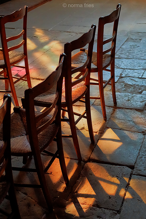 FR416: Giverny, France: Chairs in church