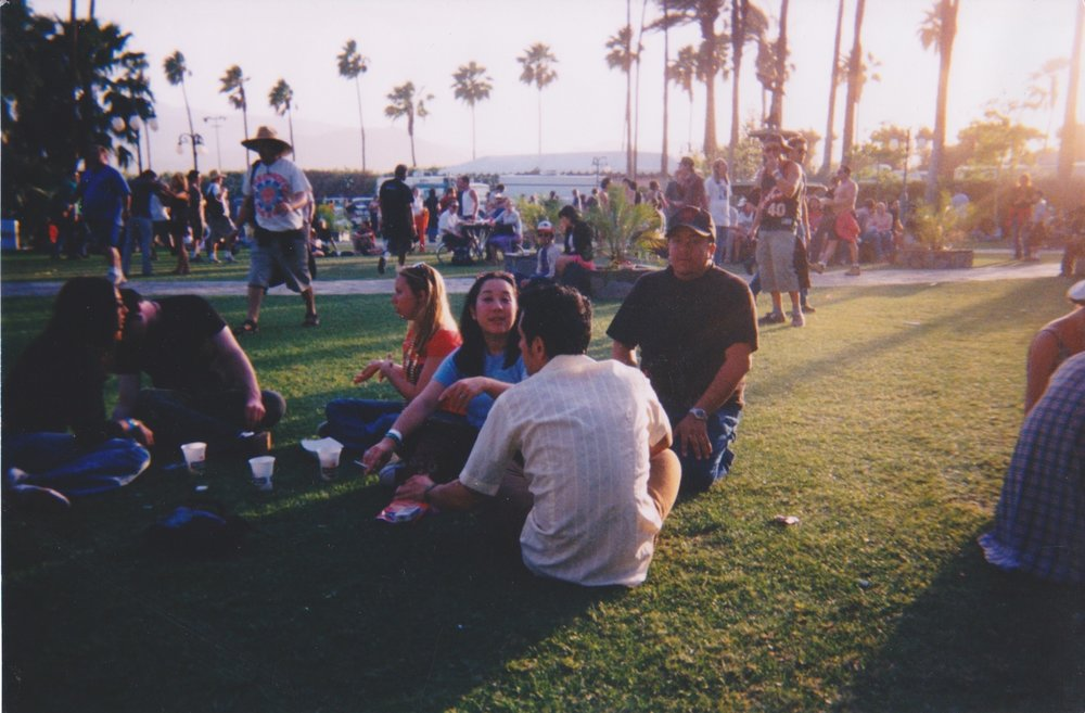 My wife, Anne (in the blue T), Manny, and me at Coachella 2003