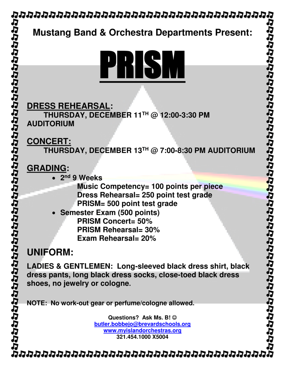 MIHS PRISM CONCERT - A musical spectrum of sound. Thursday, December 13th at 7:00 PM MIHS auditorium. Admission is free. Donations are accepted.