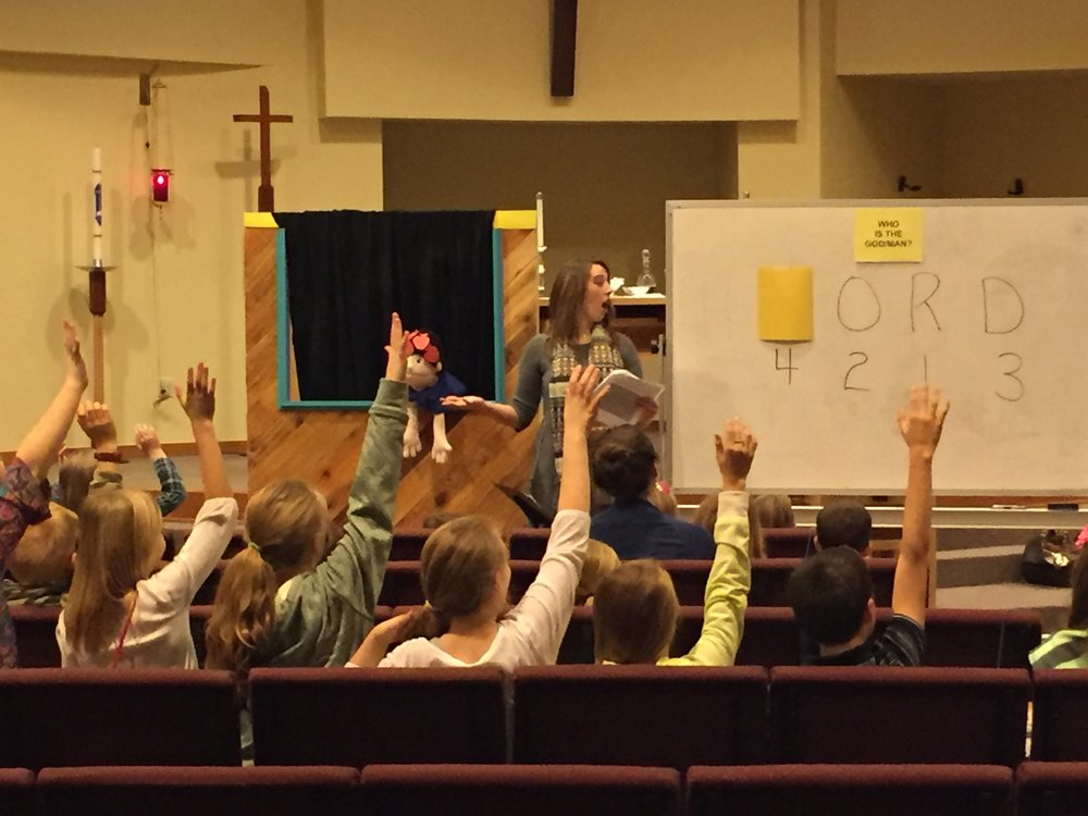 Puppet show for Children's Bible Study on Sunday mornings. Bible Study starts at 9:45 am.
