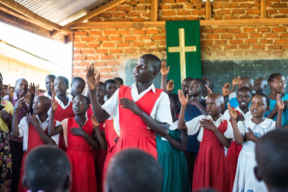 Children worshiping at Hope Lutheran Church & School in Bufuula, Uganda