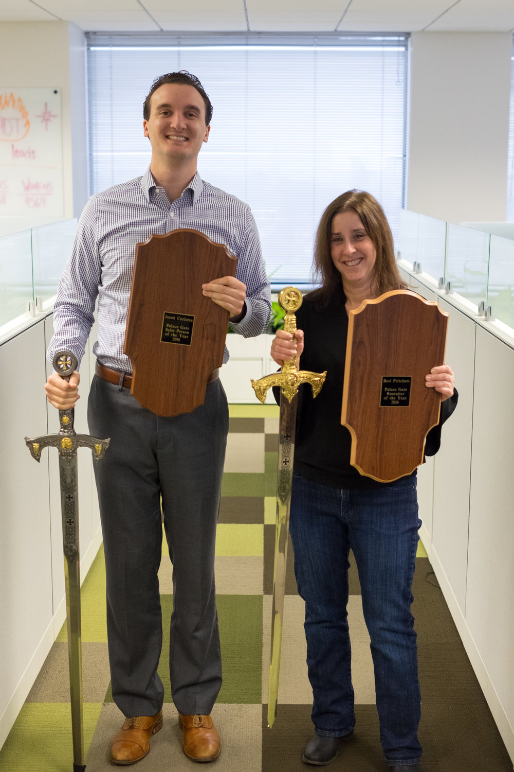 Jason Corletta, 2016 Sales Person of the Year and Bari Pritchett, 2016 Recruiter of the Year pictured together.