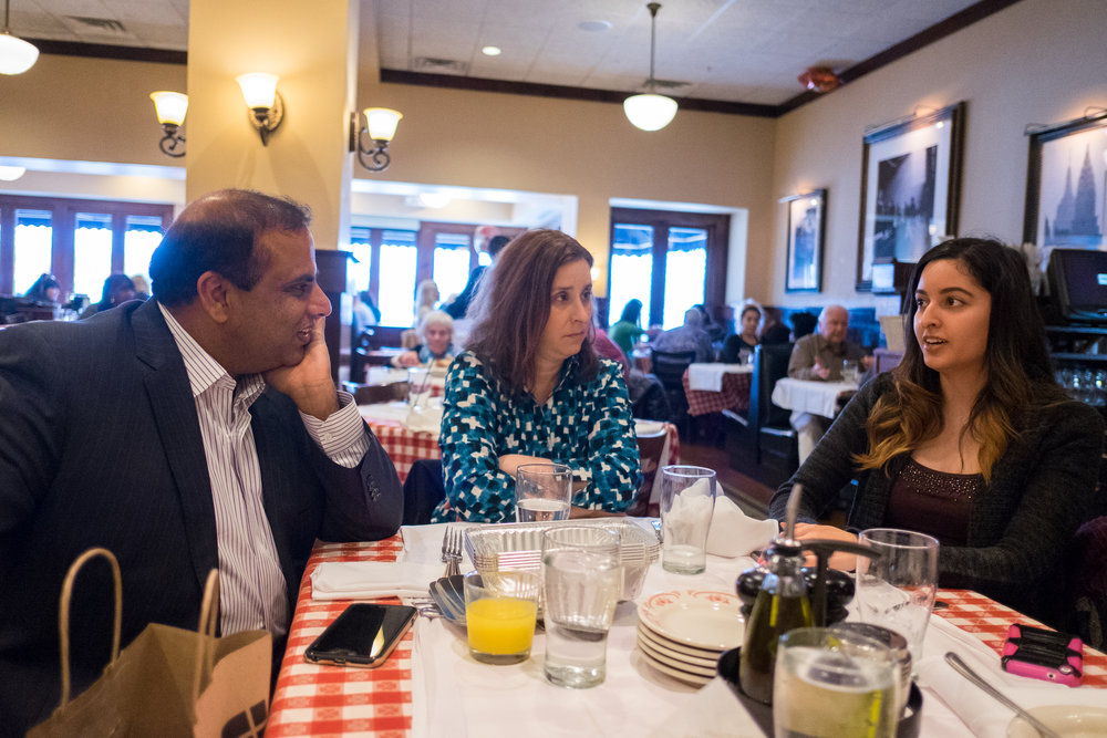 V-Soft President Purna Veer enjoys lunch at Maggiano's in Chicago with Bari Pritchett and Gaby Arias while getting to know the new Chicago IT staffing team.