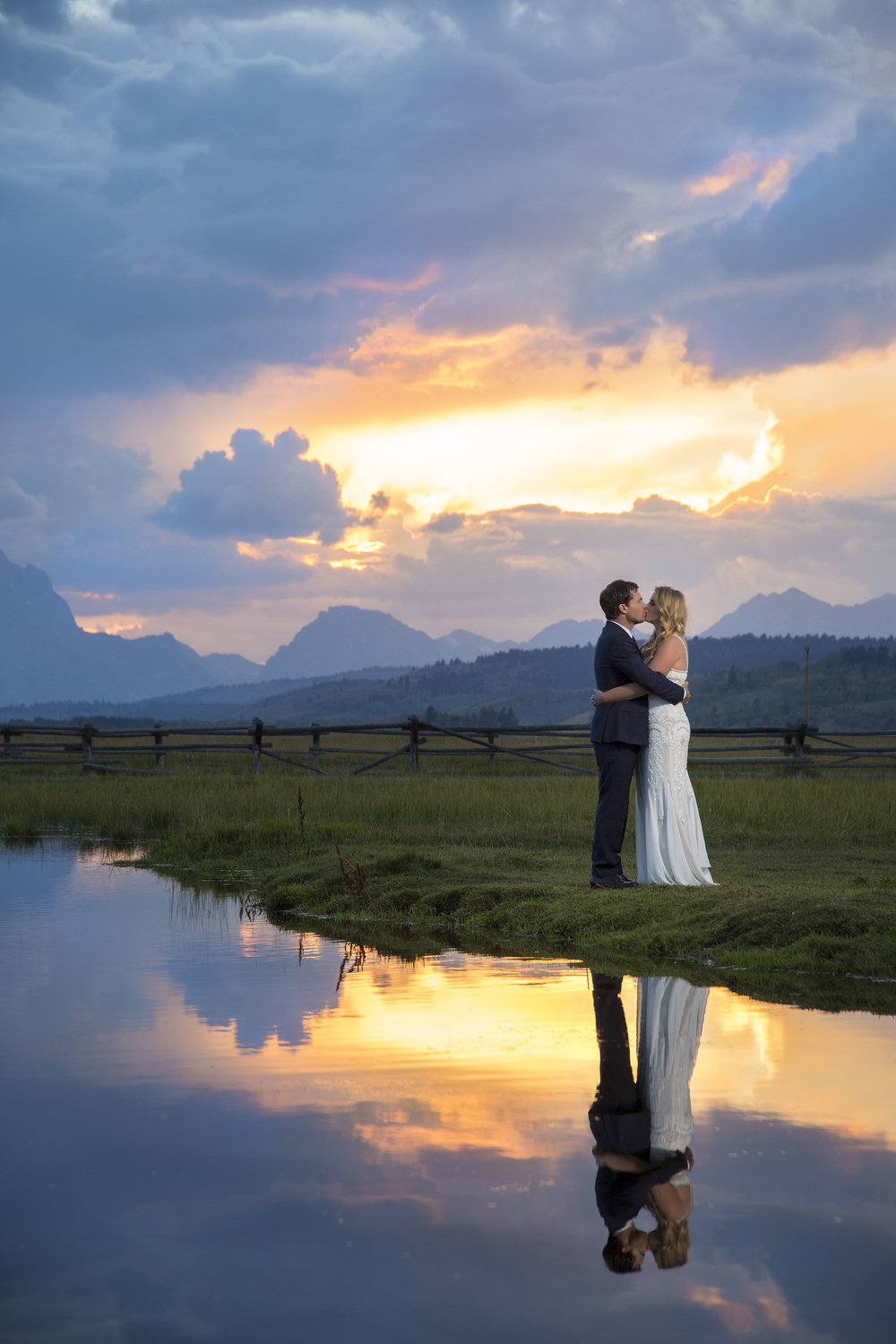 Wedding Sunset Portrait in Jackson Wyoming