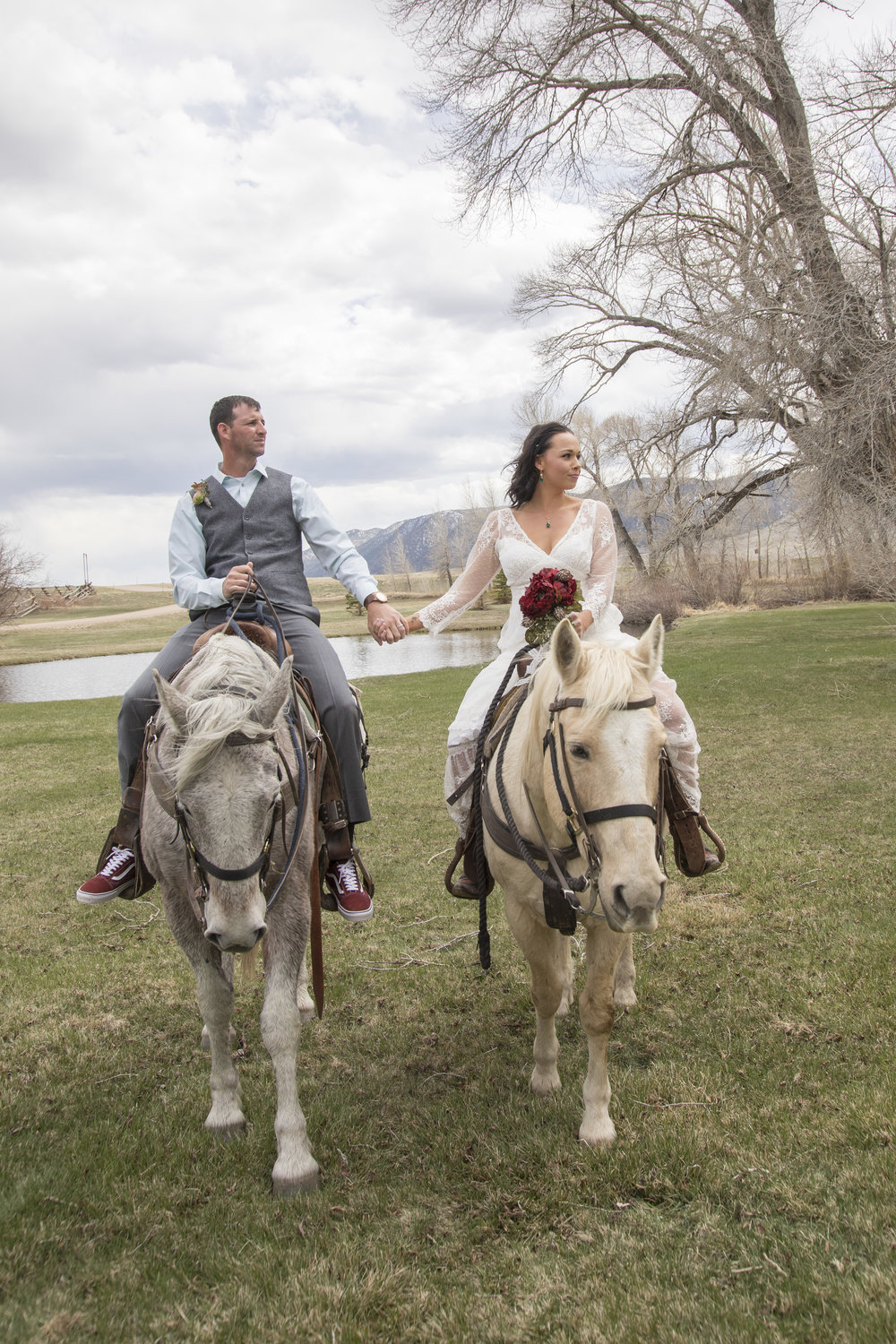 Bride and Groom on Horses