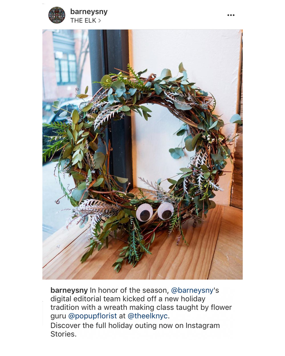 Barneys Wreath Class at The ELK December 2016