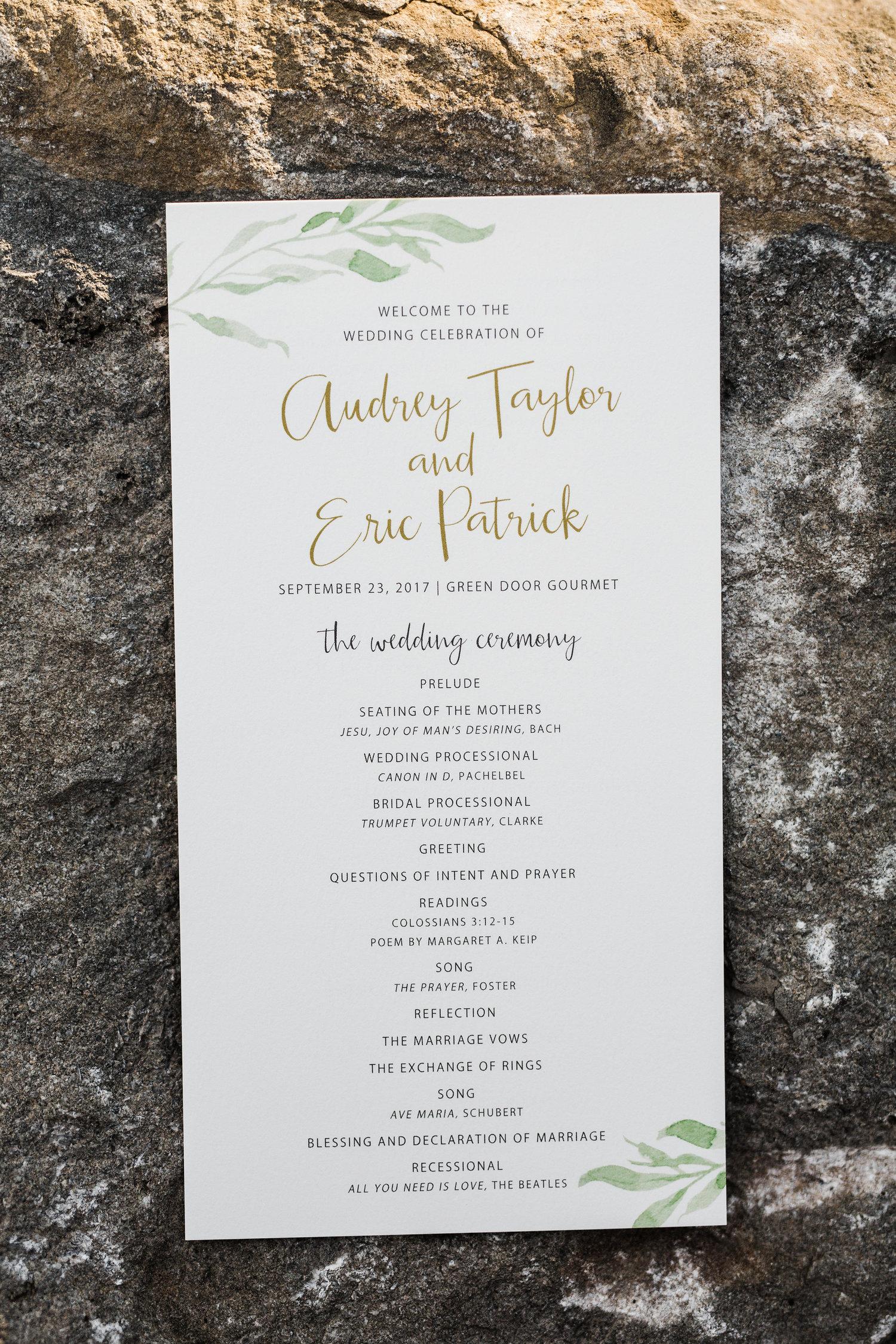 Audrey + Eric   Green Door Gourmet — Adriel Nutter Events