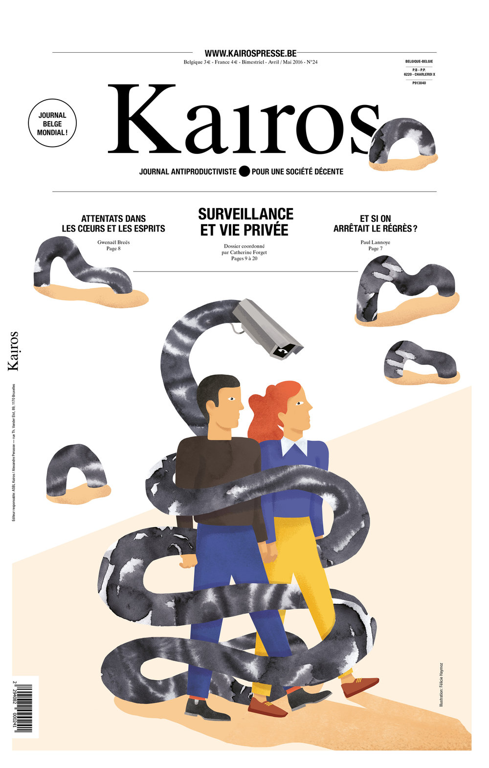 Cover for the Kairos Magazine Issue 24 about surveillance and privacy