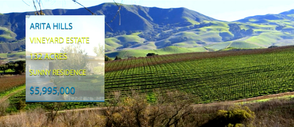Sta. Rita Hills Estate - 40 planted acres of Pinot Noir and Chardonnay in the world renown Santa Ynez Valley AVA