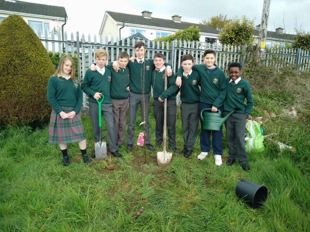 2nd Year English students planting an apple tree in the school yesterday. The pupils have recently finished reading  Tuck Everlasting  by Natalie Babbit. This much loved book tells the fantastical tale of a young girl who stumbles upon a most mysterious tree and a quite extraordinary family who struggle to conceal an incredible secret. Needless to say- adventure and intrigue ensue!   In the years to come, we hope our tree will remind us of the good times our class has had this year.