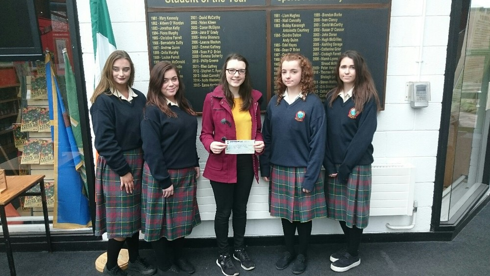 A cheque was presented to Aisling Byrne for a sky drive she is doing for Youth Suicide Prevention Ireland. Four 6th year girls Ceara Munnelly, Ciara Gaffney, Shauna Stones and Jessica Brien raised €562.70 for the charity.