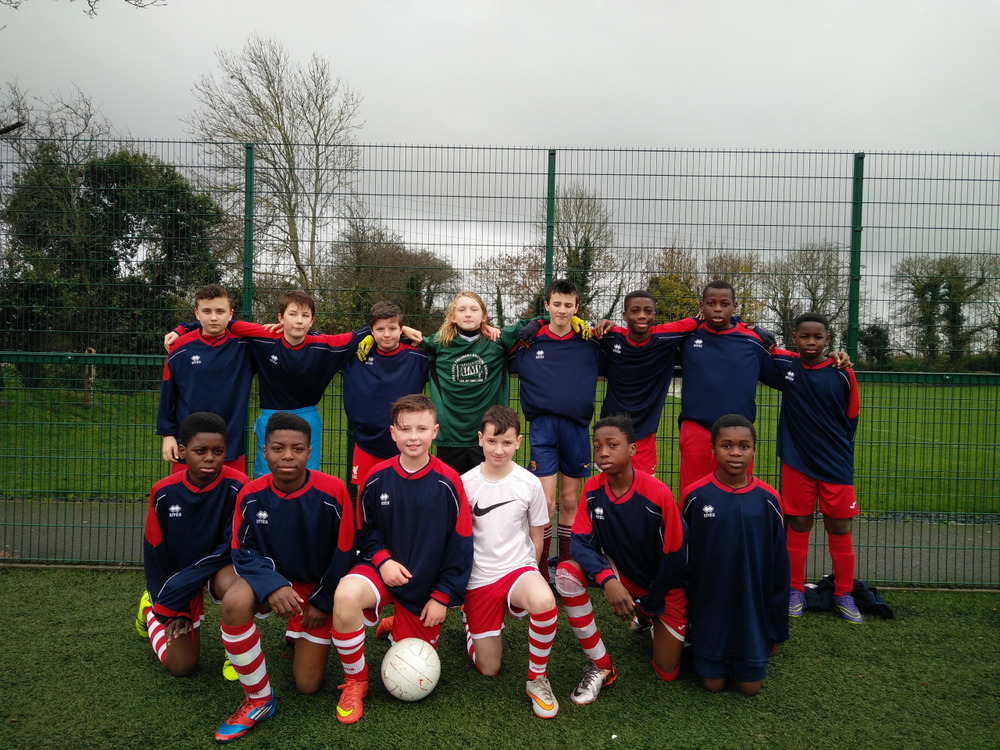 First Year Soccer     The First Year team following their 1-1 draw with Celbridge C.S. today. Despite the conditions, both teams served up a highly entertaining game. Coláiste Chiaráin conceded from a penalty but Ross Kerrigan got us back on level terms soon after.